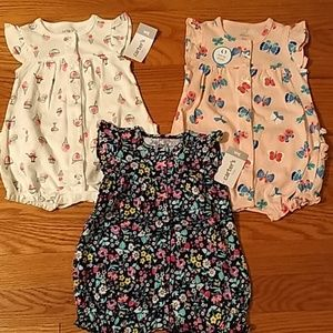 NWT 3 Carter's 3M Summer Rompers